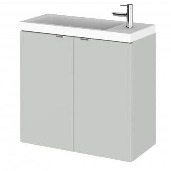 Hudson Reed Fusion Wall Hung 2-Door Vanity Unit with Compact Basin 600mm Wide - Gloss Grey Mist