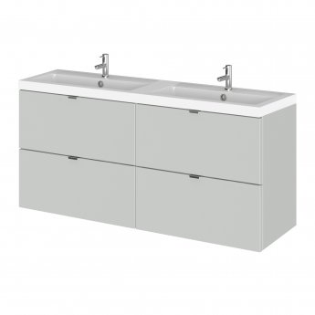 Hudson Reed Fusion Wall Hung 4-Drawer Vanity Unit with Double Basin 1200mm Wide - Gloss Grey Mist
