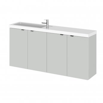 Hudson Reed Fusion Wall Hung 4-Door Vanity Unit with Compact Basin 1200mm Wide - Gloss Grey Mist