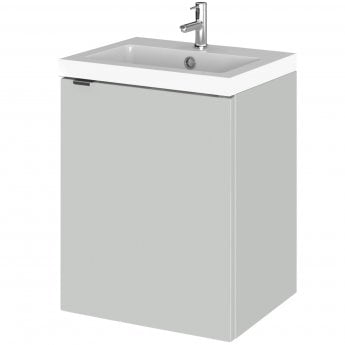 Hudson Reed Fusion Wall Hung 1-Door Vanity Unit with Basin 400mm Wide - Gloss Grey Mist