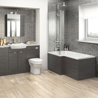 Hudson Reed MFC Shower Bath End Panel 520mm H x 700mm W - Hacienda Black
