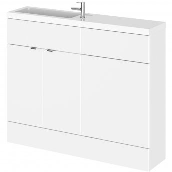 Hudson Reed Fusion Compact Combination Unit with Slimline Basin - 1100mm Wide - Gloss White