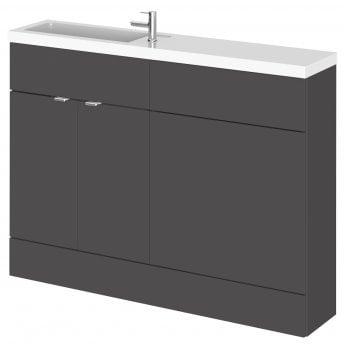 Hudson Reed Fusion Compact Combination Unit with 600mm WC Unit - 1200mm Wide - Gloss Grey