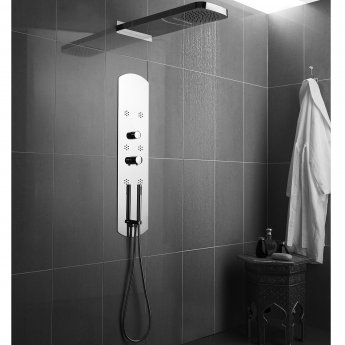 Hudson Reed Interval Luxury Thermostatic Shower Tower Panel 6 Round Body Jets - Chrome