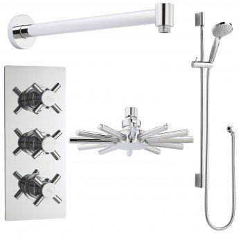 Hudson Reed Kristal Triple Concealed Mixer Shower with Slimline Shower Kit + Fixed Head