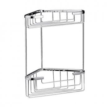 Hudson Reed Large Corner Shower Basket, Two Tier, Chrome