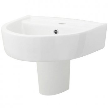 Hudson Reed Marlow Comfort Basin and Semi Pedestal 520mm Wide - 1 Tap Hole