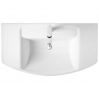 Hudson Reed Maya Basin with Semi Pedestal 650mm Wide - 1 Tap Hole