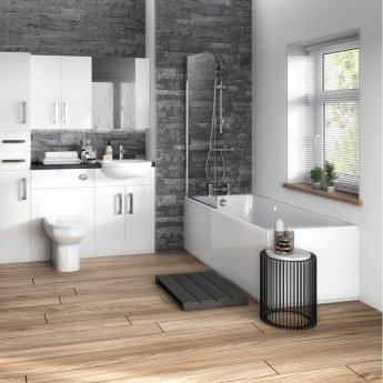Hudson Reed MDF Straight End Bath Panel and Plinth 750mm Wide - Gloss White