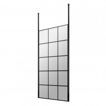 Hudson Reed Frame Effect Wet Room Screen with Ceiling Post 800mm Wide - 8mm Glass