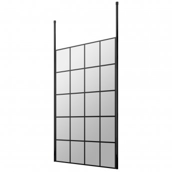 Hudson Reed Frame Effect Wet Room Screen with Ceiling Post 1200mm Wide - 8mm Glass