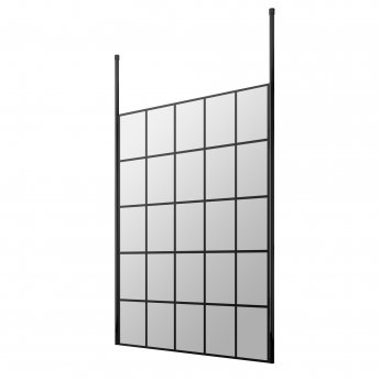 Hudson Reed Frame Effect Wet Room Screen with Ceiling Post 1400mm Wide - 8mm Glass