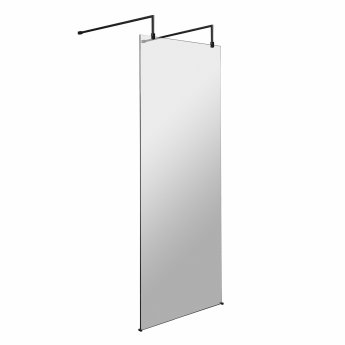 Hudson Reed Wet Room Screen with Support Bar and Feet 800mm Wide - 8mm Glass