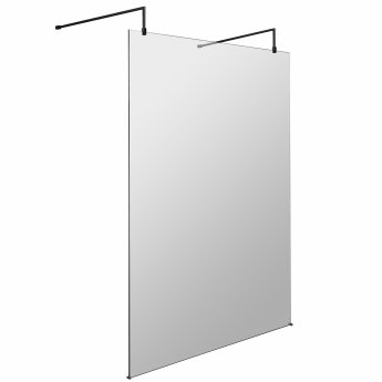 Hudson Reed Wet Room Screen with Support Bar and Feet 1400mm Wide - 8mm Glass
