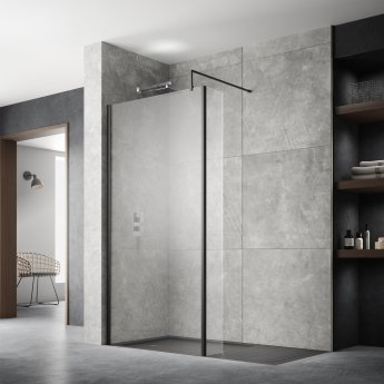 Hudson Reed Wet Room Screen with Black Support Bar 1100mm Wide - 8mm Glass