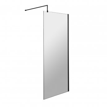 Hudson Reed Wet Room Screen with Black Support Bar 700mm Wide - 8mm Glass