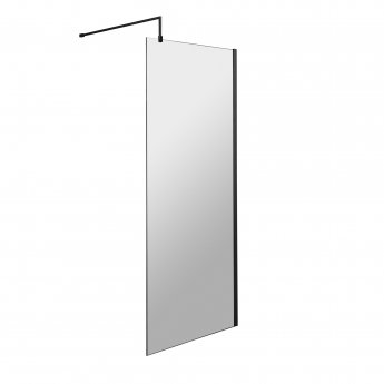 Hudson Reed Wet Room Screen with Black Support Bar 800mm Wide - 8mm Glass