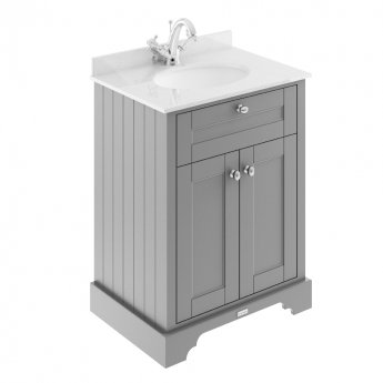 Hudson Reed Old London Floor Standing Vanity Unit with Top Basin 600mm Wide - Storm Grey/White