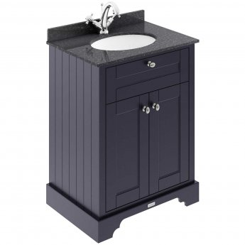 Hudson Reed Old London Floor Standing Vanity Unit with Basin 600mm Wide - Twilight Blue/Black