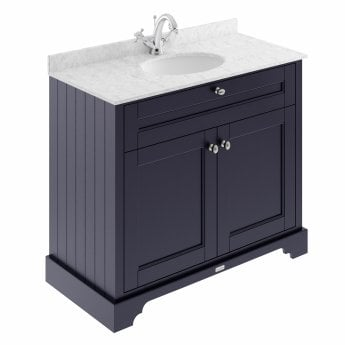 Hudson Reed Old London Vanity Unit with 1TH Carrara White Basin 1000mm Wide - Twilight Blue