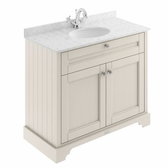 Hudson Reed Old London Vanity Unit with 1TH Carrara White Basin 1000mm Wide - Timeless Sand