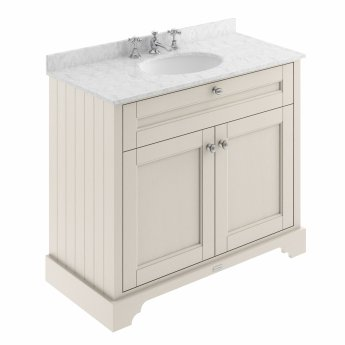 Hudson Reed Old London Vanity Unit with 3TH Carrara White Basin 1000mm Wide - Timeless Sand