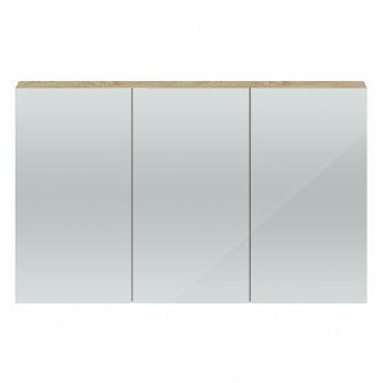 Hudson Reed Quartet 3 Door Mirrored Cabinet 1350mm Wide - Natural Oak