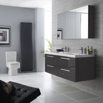 Hudson Reed Quartet Double Vanity Unit with Basin 1440mm Wide Wall Mounted - Gloss Grey
