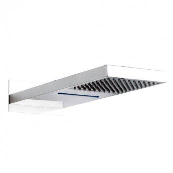 Hudson Reed Rectangular Fixed Shower Head with Waterfall, 500mm x 200mm, Chrome