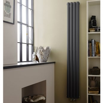 Hudson Reed Revive Double Designer Vertical Radiator 1800mm H x 236mm W Anthracite