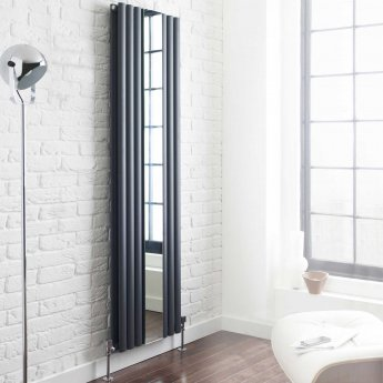 Hudson Reed Revive Double Designer Vertical Radiator Mirror 1800mm H x 499mm W Anthracite