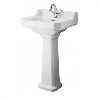 Hudson Reed Richmond Basin with Full Pedestal 500mm Wide - 1 Tap Hole