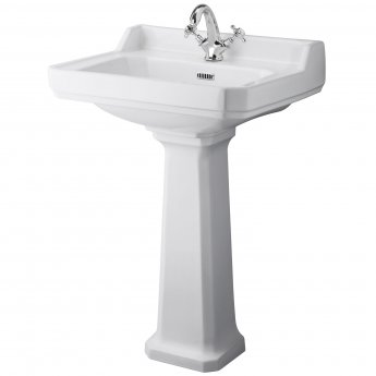 Hudson Reed Richmond Basin with Full Pedestal 595mm Wide - 1 Tap Hole