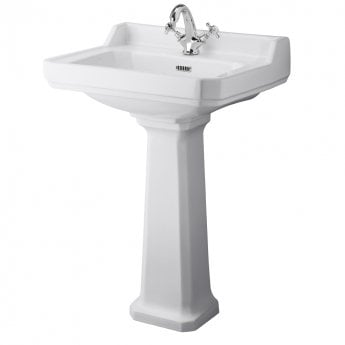 Hudson Reed Richmond Basin and Comfort Height Full Pedestal 600mm Wide - 1 Tap Hole
