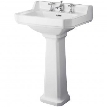 Hudson Reed Richmond Basin and Comfort Height Full Pedestal 560mm Wide - 3 Tap Hole