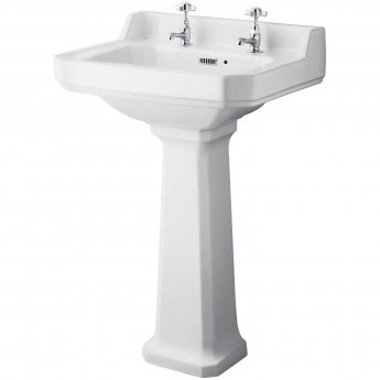 Hudson Reed Richmond Basin and Comfort Height Full Pedestal 560mm Wide - 2 Tap Hole