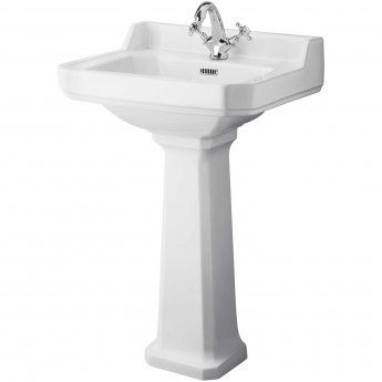 Hudson Reed Richmond Basin and Comfort Height Full Pedestal 560mm Wide - 1 Tap Hole