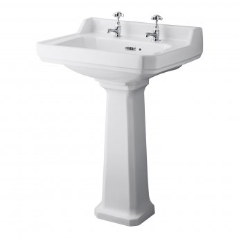 Hudson Reed Richmond Basin and Comfort Height Full Pedestal 500mm Wide - 2 Tap Hole