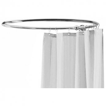 Hudson Reed Round Shower Curtain Rail with Wall Stay 849mm x 937mm - Chrome