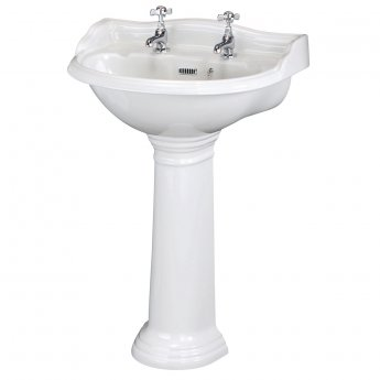 Hudson Reed Ryther Basin and Full Pedestal 600mm Wide - 2 Tap Hole