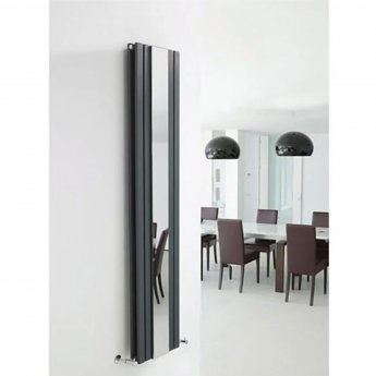 Hudson Reed Sloane Double Designer Vertical Radiator Mirror 1800mm H x 381mm W Anthracite
