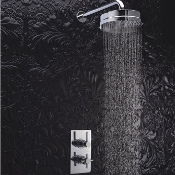 Hudson Reed Tec Pura Dual Concealed Shower Valve with Fixed Head - Chrome