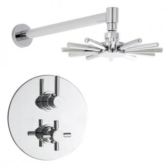 Hudson Reed Tec Dual Concealed Shower Valve with Cloudburst Fixed Head - Chrome