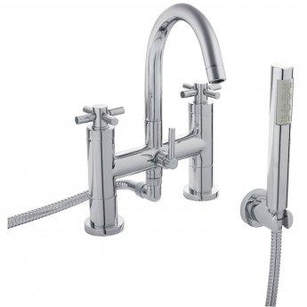 Hudson Reed Tec Crosshead 3 Hole Basin Mixer Tap and Bath Shower Mixer Tap, Chrome