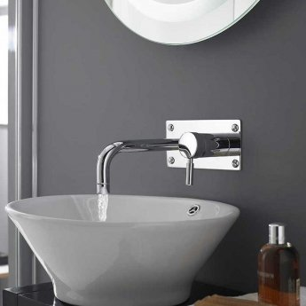 Hudson Reed Tec Single Lever Basin/Bath Filler Tap, Wall Mounted, Chrome
