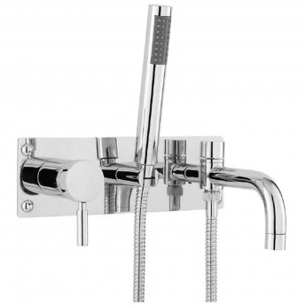 Hudson Reed Tec Single Lever 2-Hole Bath Shower Mixer Tap Wall Mounted - Chrome