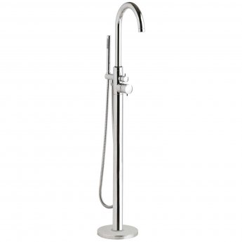 Hudson Reed Tec Single Lever Thermostatic Mono Bath Shower Mixer Tap Floor Mounted - Chrome