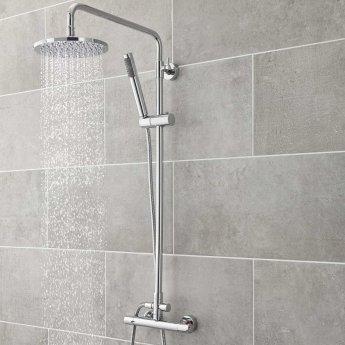 Hudson Reed Telescopic Shower Riser Kit 1 with Diverter, Pencil Handset and Fixed Head, Chrome