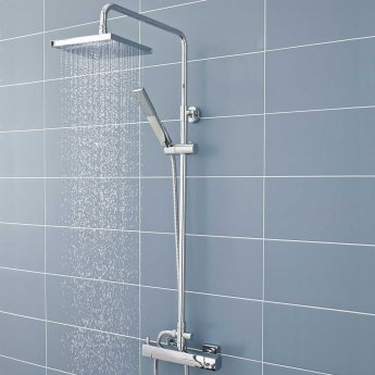 Hudson Reed Telescopic Shower Riser Kit 2 with Diverter, Pencil Handset and Fixed Head, Chrome