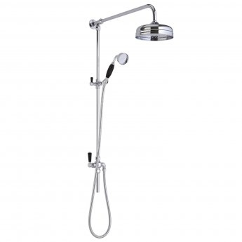 Hudson Reed Topaz Dual Exposed Mixer Shower with Shower Kit + Fixed Head - Black/Chrome
